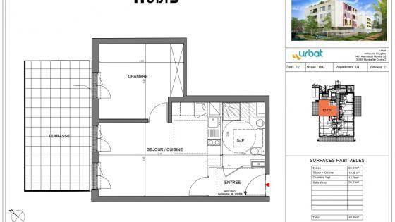 AVANT PREMIERE, A louer Ovalie T2 NEUF 41m² RDC terrasse 18m² et parking en sous-sol