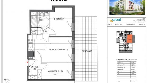 AVANT PREMIERE, A louer Ovalie T3 NEUF 56m² RDC terrasse 30m² et garage en sous-sol
